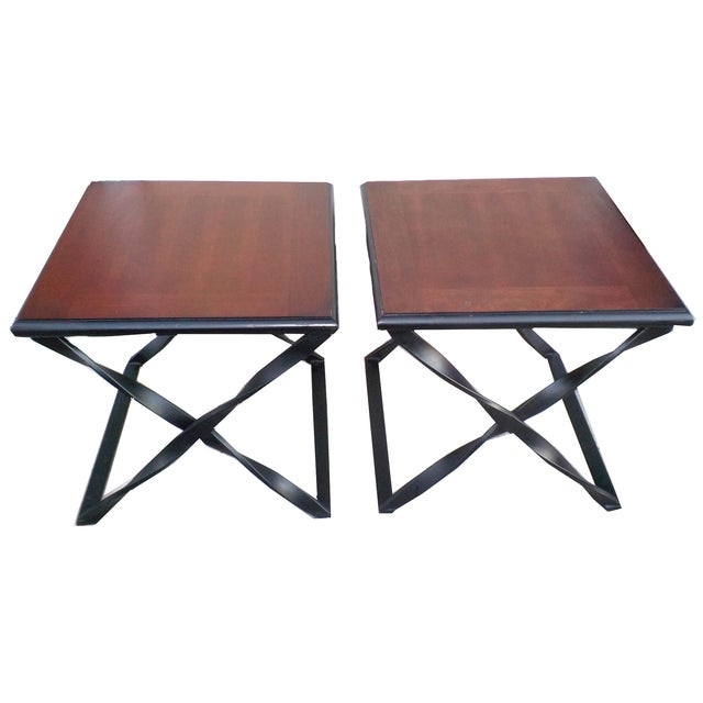 Rustic Wood & Wrought Iron Side Tables - A Pair - Image 1 of 5