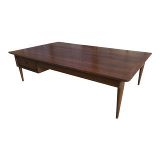 Lane Mid Century Modern Extra Large Double Sided Drawer Walnut Coffee Table Plateau Table