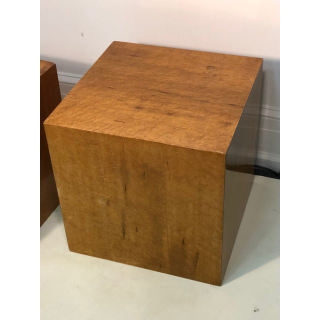 Mid-Century Modern Late 20th Century Burl Wood Cubes or Side Tables- A Pair For Sale - Image 3 of 6