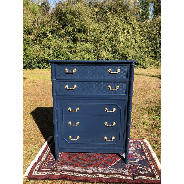 1970s Lacquered Faux Bamboo Broyhill Dresser For Sale - Image 9 of 13