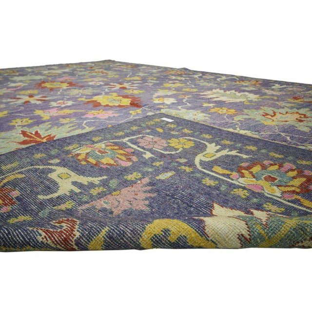 "Colorful Contemporary Turkish Oushak Rug - 11'4"" X 15'6"" For Sale - Image 4 of 10"