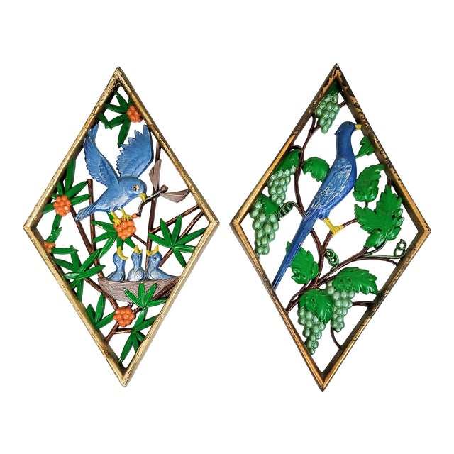 Mid Century Carved Bird Wall Hangings - a Pair For Sale