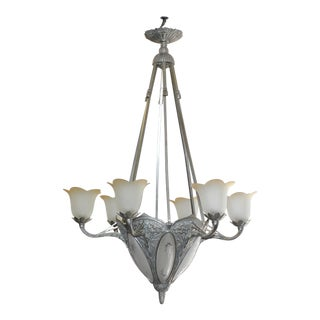 1930s French Art Deco Six-Arm Chandelier in Nickeled Bronze and Frosted Glass For Sale