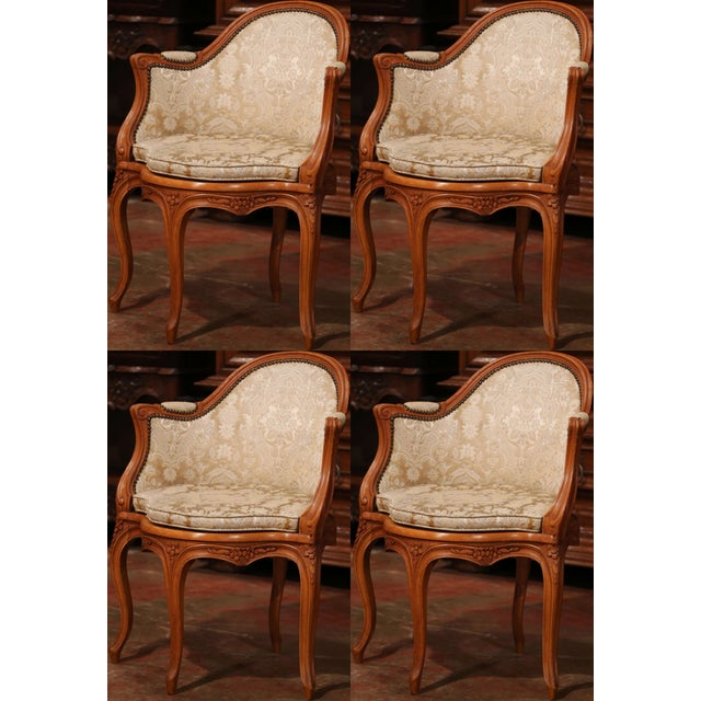 Set of Four Early 20th Century French Louis XV Carved Walnut Desk Armchairs For Sale - Image 12 of 12