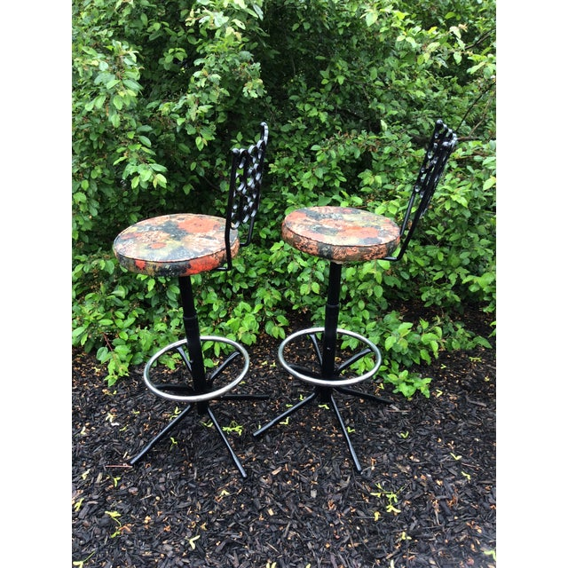 Arthur Umanoff Wrought Iron Swivel Bar Stools - A Pair For Sale - Image 9 of 9