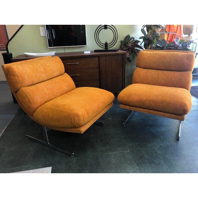 1970s 1970s Steel Framed Scoop Lounge Chairs by Kipp Stewart for Directional - a Pair For Sale - Image 5 of 10