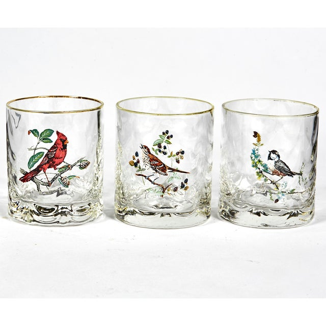 1960s Glass Bar Tumblers W/ Birds, Set of 6 For Sale - Image 4 of 5