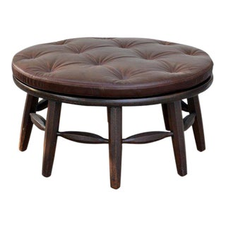 Original Round Monterey Signed Coffee Table or Ottoman For Sale