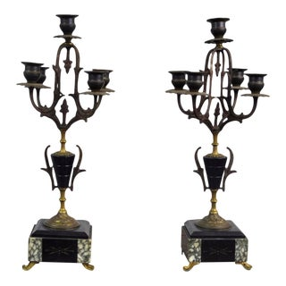 Antique 19th Century Pair of French Aesthetic Movement Napoleon III Bronze & Marble Candelabras For Sale