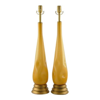 Dimpled Murano Butterscotch Teardrop Lamps For Sale