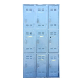 Vintage Industrial Column School Locker Unit For Sale