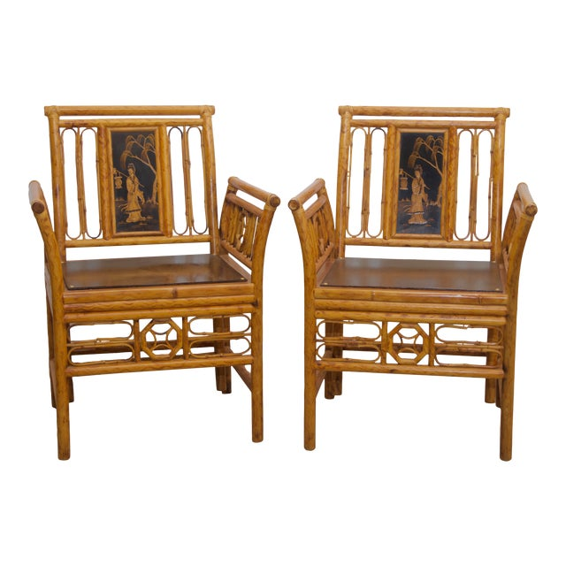 1980s Maitland Smith Bamboo Chinoiserie Asian Chairs - a Pair For Sale