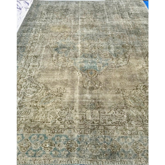 1920s Antique Turkish Distressed Rug- 6′1″ × 10′6″ For Sale - Image 10 of 12