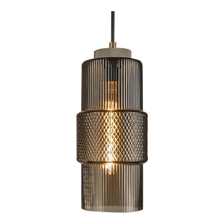 Laguna Knurled Detailing, Golden Bronze and Black Silk Cable Mocca Pendant Light For Sale