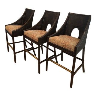 Barbara Barry Caned Barstools for McGuire Furniture - Set of 3 For Sale