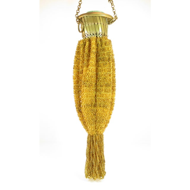 Metal Victorian Hand-Beaded Reticule Evening Bag 1870s For Sale - Image 7 of 11