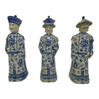 Blue & White Chinese Porcelain Scholarly Figures -Set of 3 For Sale