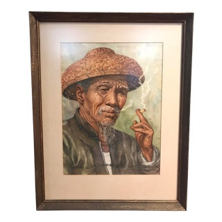 Mid-Century Portrait Watercolor Painting by Kam Cheung Ling- Artist Signed For Sale