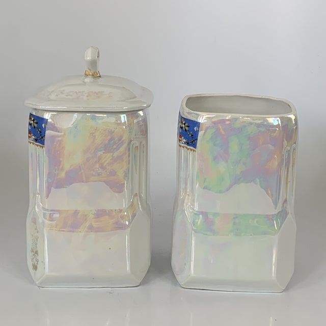 Art Nouveau Victoria Czech Slovakia Luster Ware Canisters Jars Iridescent Set For Sale In Miami - Image 6 of 13