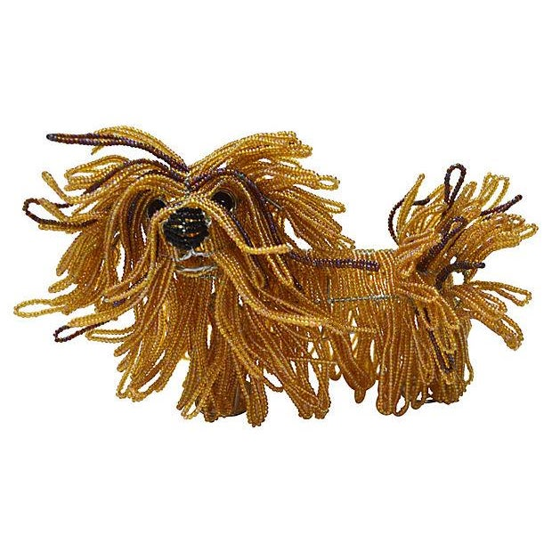 Glass Beaded Lhasa Apso Dog Sculpture - Image 1 of 4