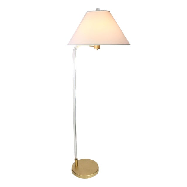 Rare and elegant Lucite floor lamp with circular base designed by Peter Hamburger for Knoll International in the 1970's....