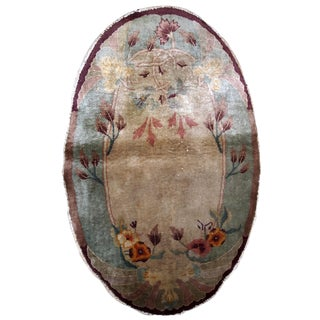 1920s Handmade Antique Art Deco Chinese Oval Rug 2.10' X 4.10' For Sale