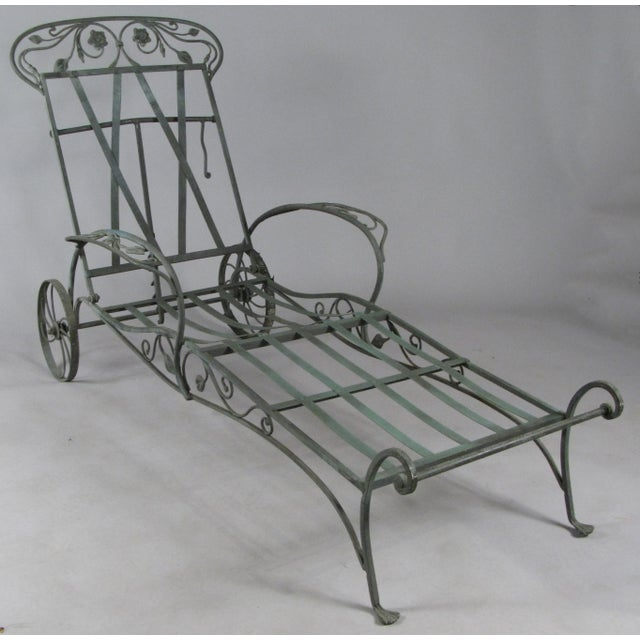 Art Nouveau Wrought Iron Chaise Lounges by Salterini, Circa 1950 - a Pair For Sale - Image 3 of 9