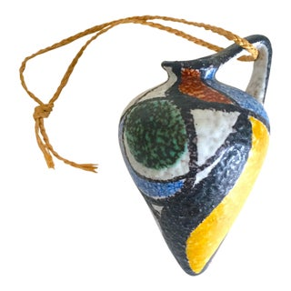 Vintage Mid Century Modern West German Art Pottery Wall Hanging Small Ceramic Bud Vase For Sale