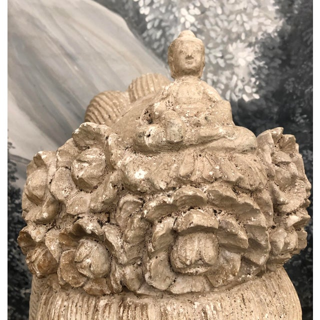 Antique White Mid-Century Deity Wood Bust Sculpture For Sale - Image 8 of 13