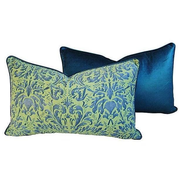 Fortuny Sevres Silk & Velvet Pillows - A Pair - Image 5 of 7
