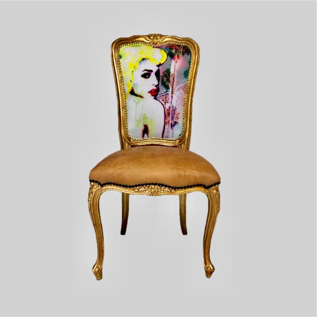 """Limited Edition #1 or 20 """"Golden Goddess"""" Daf House Art Piece Chair - Image 2 of 6"""