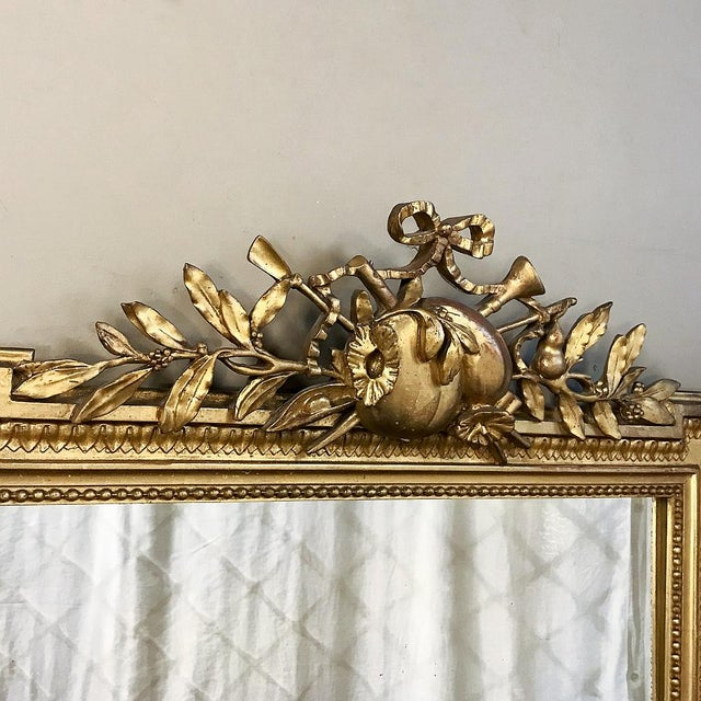 Wood 19th Century French Louis XVI Style Gilded Mirror For Sale - Image 7 of 12