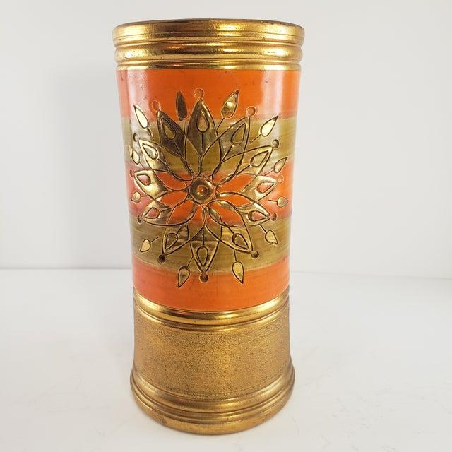 Mid Century Modern Italian Pottery Vase Rosenthal Netter Vintage Orange Gold Cylinder Sunburst Flower Signed Italy Hard to...