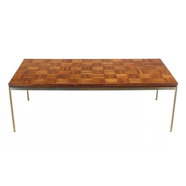 Mid-Century Modern Large Brass Rectangle Base Parquet Top Coffee Table For Sale - Image 3 of 6