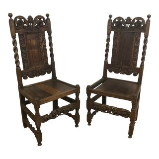Antique 18th Century French Primitive Carved Oak Chairs - a Pair For Sale