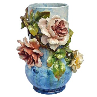 Antique Barbotine Majolica French Floral Vase For Sale
