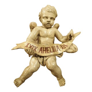 Antique Painted Winged Cherub Statue, 18th Century For Sale