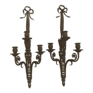 Pair Of Antique French Bronze Bow Wall Sconces For Sale