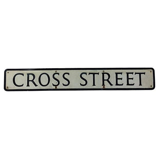 "English Metal ""Cross Street"" Street Sign - Image 1 of 3"
