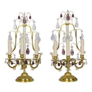 Lyre Back Amethyst Candelabra - A Pair For Sale