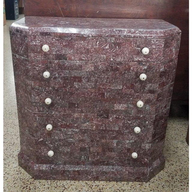 Rare Maitland Smith lilac tessellated stone chest of drawers in the art deco style sold as found previously owned showing...