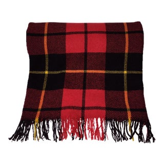 Red Plaid Wool Blanket For Sale