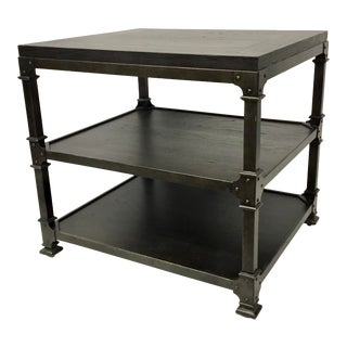 Thomasville Industrial Modern Three Tier Wood and Metal End Table For Sale