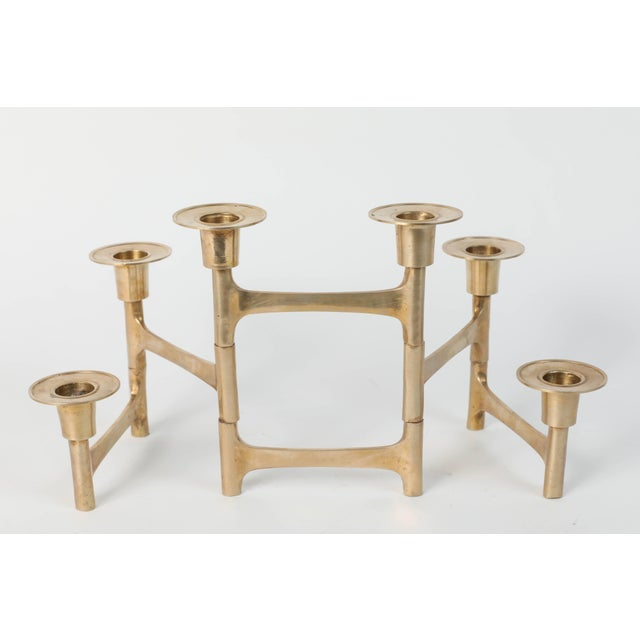 Danish Mid-Century Modern Brass Articulating Candleholder Nagel Style For Sale In Los Angeles - Image 6 of 8