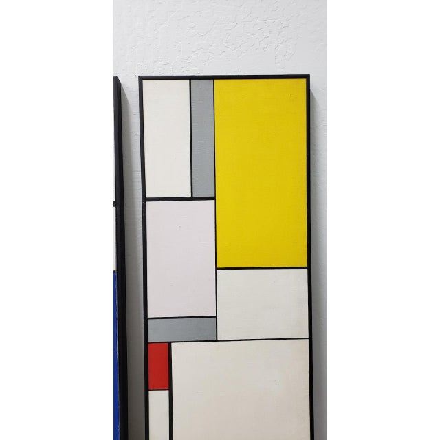 Abstract Mid-Century Geometric Abstract Paintings C.1950s - a Pair For Sale - Image 3 of 10