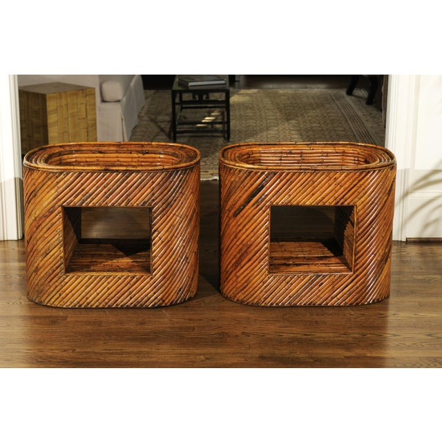 Exceptional Restored Pair of Bamboo Display End Tables, circa 1975 For Sale - Image 10 of 13