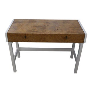 White Lacquer Burl Wood Top Petit Desk Console Hall Table For Sale