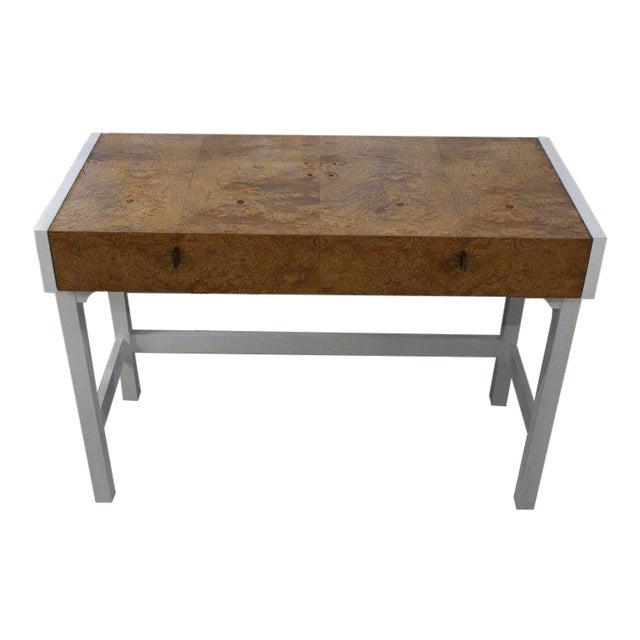 White Lacquer Burl Wood Top Petit Desk Console Hall Table For Sale