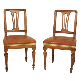 1830s Italian Walnut Side Chairs - a Pair For Sale