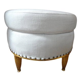 Antique French Louis XVI Style Giltwood Ottoman or Poof For Sale
